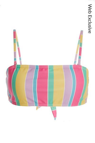 Multicoloured Stripe Bikini Top